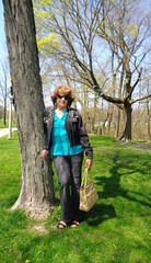 Casual Woman (Laurette Victoria) Tags: trees woman sunglasses spring auburn jeans jacket purse milwaukee denim lakepark laurette