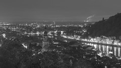 Heidelberg Pamorama () Tags: trees chimney bw panorama mountain reflection church fog night buildings river blackwhite smog cityscape foggy hills fujifilm heidelberg oldtown oldcity xt1
