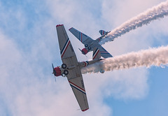 At The Airshow! (wowography.com) Tags: sky holiday clouds nikon may airshow luck contrails 28300mm jonesbeach nearmiss 2016 memorialdayweekend wwiiaircraft d610 vintageaircraft prattandwhitney snj2 geicoskytypers wowographycom 4991717