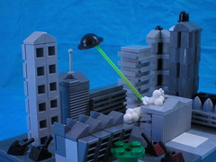 Colonisation (Agent 009) Tags: city blue brick buildings paper death flying fight war ray lego image massacre background smoke brodie alien contest explosion ufo spaceship product bas showcase entry saucer tanks detruction microscale brickarms gibrick