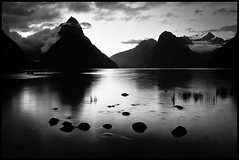 The Sound at Dusk (Mike Isaak) Tags: ocean longexposure nightphotography newzealand blackandwhite bw tree green nature clouds landscape dead photography coast nikon rocks naturallight southisland filters milfordsound hdr fineartphotography mitrepeak d300s mikeisaak