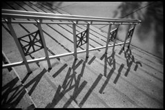 Angell (Voxphoto) Tags: shadow blackandwhite bw stairs trix annarbor railing plasticcamera jazz207 aristapremium400