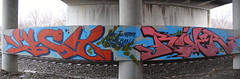 MUCH RIVER (Reckless Artist) Tags: bridge pink blue red panorama minnesota st metal wall train river paul photography graffiti photo cool midwest flickr artist stitch awesome champs cities minneapolis twin panoramic photograph tc production much twincities graff hm burner heavy sick inc incorporated mucho reckless tci burna illest
