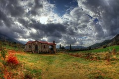 country (dtsortanidis) Tags: autumn sky church field grass clouds canon skyscape landscape colours village cloudy mark country chapel fisheye greece ii 5d hdr dimitris dimitrios flickrduel 815mm tsortanidis