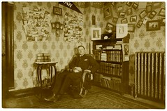Sam's Room (Alan Mays) Tags: christmas old chicago men students portraits vintage illinois holidays interiors rooms chairs photos pennsylvania antique books il ephemera pa ill photographs postcards radiators wallpapers colleges banners rugs bookshelves rockingchairs photosofphotos 1908 1900s universities floorcoverings newflorence pennants westmorelandcounty rppc december24 realphotopostcards
