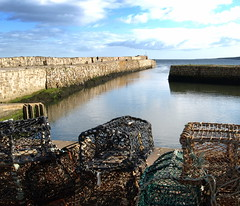 St Andrews Harbour scenic (Tony Worrall Foto) Tags: uk blue sky wet water beautiful wall clouds docks season boats scotland town photo seaside nice image harbour fife angus north stock scenic scottish serene standrews docked buidlings 2011tonyworrall