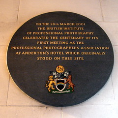 Photo of Anderton's Hotel and Professional Photographers Association black plaque