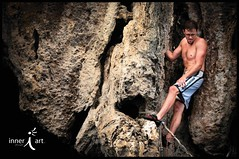 Ryan Climbing the Crack (inneriart) Tags: boy shirtless summer vacation portrait man male guy sports rose trekking thailand outdoors photography utah athletic amazing nikon southeastasia artist emotion ryan unique awesome fineart creative saltlakecity backpacking adobe american thai passion traveling athlete rockclimbing krabi sporty freelance railaybeach southernthailand noropes deepwatersoloing mueang inneri hannahgalliinneri nikond300s photoshopcs5 photographyinner•i inneriart innereyeart inner•i wholehannah inneriartcom httpinneriartcom