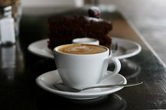 Flat White and Dark Cherry and Chocolate Cake (Jaime Carter) Tags: newzealand food cup coffee cake cherry cafe chocolate hamilton waikato espresso yoghurt victoriastreet flatwhite darkcherry jaimewalsh jaimecarter riverkitchen theriverkitchen