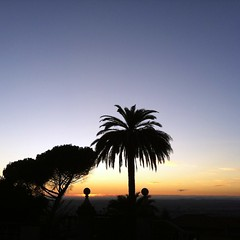 sunsilhouettes (ΞSSΞ®®Ξ) Tags: city pink blue light sunset red sky italy silhouette composition square landscape photography evening tivoli glow dof view angle branches hill perspective scenic september clear panoramica framing nero depth lazio celeste iphone