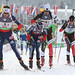 At a mixed relay event in Austria, biathlete Annelies Cook tags fellow Adirondacker Tim Burke (left). Photo captured from live video stream by George Cook, Saranac Lake NY.