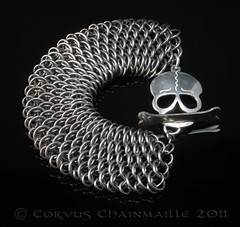 Dragonscale skull and bone (Redcrow at Corvus Chainmaille) Tags: silver skull mail handmade steel jewelry jewellery chain bracelet handcrafted bone sterling stainless chainmail maille chainmaille dragonscale