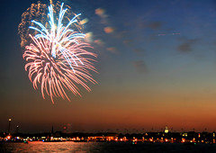 Fireworks over Annapolis (` Toshio ') Tags: toshio annapolis history historical fireworks sunset mainstreet architecture building car street capitol capital maryland road city cityscape