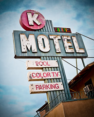 Circle K Motel: Part 1 (Shakes The Clown) Tags: california old signs pool vintage typography lights flickr neon grunge parking illumination rusty motel retro signage signlanguage grungy smugmug culvercity westlosangeles colortv sepulvedablvd canon5dmarkii marcshurphotographycom marcshur