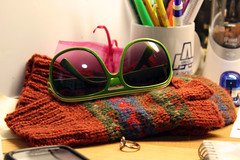 64 (Dream. Imagine. Create.) Tags: winter red summer green sunglasses pencils notebook cozy phone desk ring gloves pens stapler mittens