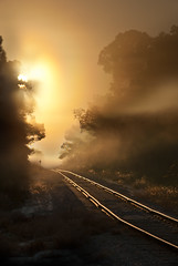 Country crossing (rbowmanfl) Tags: railroad sunlight fog sunrise dawn landscapes manandnature