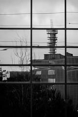 Distortion (Harri_1970) Tags: blackandwhite bw distortion reflection building tower window radio suomi finland tile turku canon5d ikkuna linkkitorni pääskyvuori masto linkki laukkavuori