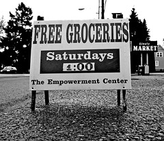Sign of the times () Tags: city trees people food sign grit religious outdoors photo washington pacific image market ministry great picture free bank center gritty christian photograph depression tacoma christianity roadside items avenue groceries starvation christians unemployment lively jobless the empowerment starving recession