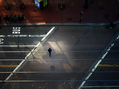 F# (briyen) Tags: street light shadow san francisco crossing rail