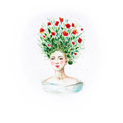 Poppy head (k.dmitrijewa) Tags: flowers red green girl lady illustration hair head dream fantasy poppy hairstyle tender pennyjey