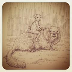 Gopher Rider (von Zzyzx) Tags: art pen ink drawing sketchbook riding creature imp