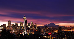 In Seattle This Morning (David M Hogan) Tags: seattle skyline sunrise landscape dawn washington cityscape spaceneedle kerrypark mtrainier