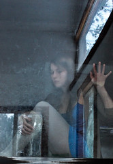 (May.Bird) Tags: blue selfportrait reflection window glass girl lost hand dress michelle dirt pressed lookingthrough