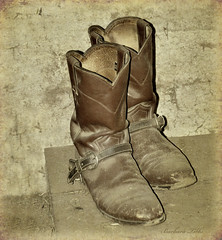 These boots were made for ridin'  (Explored) (misst.shs) Tags: dusty barn vintage nikon boots cloning textures western desaturated sandpoint cowboyboots hss northidaho d90 ridingboots sliderssunday colburnidaho