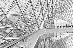 Triangle Galore (Philipp Klinger Photography) Tags: city windows light shadow urban bw white black reflection window glass architecture modern triangles stairs reflections blackwhite am high triangle key stair shadows bright geometry frankfurt main curves shapes highkey curve shape curved philipp modernarchitecture glas frankfurtammain zeil ffm ballustrade kling
