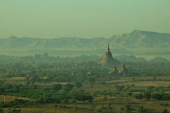 Bagan, Myanmar_HXT1689 (ohmytrip) Tags: morning horizontal fog architecture sunrise outdoors temple photography ancient day religion tranquility buddhism nopeople tourist spire valley remote myanmar bagan traveldestinations colorimage traditionallymyanmarian