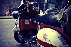 Mighty Mouse. (Rob-Allen) Tags: seattle street old city urban classic film coffee bike mouse cafe cool italian 60s day vespa traffic hill capital central broadway hipster rusty scooter simulation transportation moto casual daytime parked motor decal idle mighty economy fuel younger stylish nimble