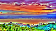 Drawing Of Penang (Haryth Hayqal) Tags: blue sea cloud mountain color green art nature ferry landscape coast ship drawing top hill malaysia summit colourful penang bulding
