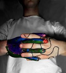 Hemispheres (Ryan.Berry) Tags: blue red portrait white selfportrait color green glitter canon hands paint hand purple mesh fingers vivid brain line marker concept merge hemisphere 60d
