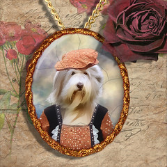 Bearded Collie Pendant Porcelain Handmade - Lady with Hat Gold Frame PN