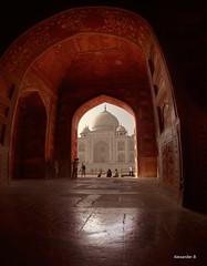Taj Mahal from the Red Room (@Alebi) Tags: red people india colors canon warm indian taj mahal tajmahal agra historical hdr wonderoftheworld canon15mmfisheye