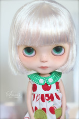 meet Tofu! (Simmi.) Tags: wearing by dress tofu vanilla blythe custom simply takara meimei buttonarcade