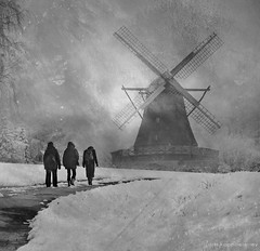 Windmill in Winter (h.koppdelaney) Tags: life winter woman white snow art love wet windmill digital photoshop landscape symbol secret inspection picture philosophy metaphor visitor psyche inspector symbolism psychology archetype absolutegoldenmasterpiece bestcapturesaoi koppdelaney elitegalleryaoi