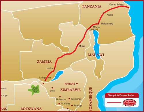 Shongololo Express - Map of the Dr Livingstone route