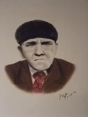 Slapstick legend:  Moe Howard of the 3 Stooges (fitzjim) Tags: 3 celebrity face hair fire hit intense funny comedy artist married drawing howard rip fine cartoon rollerderby joe columbia orphanage curly commercial larry poke comicbook angry moe boxer bite comicbooks actor wrestler mean slap fighters tear bangs tough cartoons stooges wwe piefight bombers bothers slapstick horwitz besser seanhayes willsasso shemp columbiapictures jimfitzpatrick willtravel curlyjoe kingsofcomedy chrisdiamantopoulos snowwhiteandthethreestooges womanhaters joanhowardmaurer haverocket thethreestoogesmeetherculesthethreestoogesinorbitthethreestoogesgoaroundtheworldinadazetheoutlawsiscoming mosesharryhorwitz threestoogesmovie 3stoogesmovie