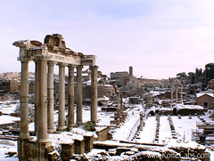 Roman Forum, snowing in Rome (Rome Cabs) Tags: city trip travel winter italy snow storm rome tourism weather private ancient europe day tour roman forum center limo foro historic romano shore seeing driver service coliseum sight traveling monuments cabs tours excursion eternal guided chauffeur templeofsaturn templeofvesta transfers civitavecchia romeinaday romecabs romecab romecabscom romecabit wwwstefanorometourscom