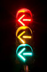 Left Turn Signal (Curtis Gregory Perry) Tags: light red black green yellow oregon turn dark portland nikon traffic control background arrow left signal d300