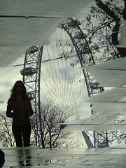 The London Eye, reflection in the puddle (EmiliaStempinska) Tags: reflection london puddle londoneye thelondoneye reflectioninthepuddle