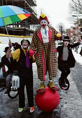 Clown action shot - featuring Jake, Puzzle, Rainbow and Mr Mudge) (deepstoat) Tags: snow london 120 film mediumformat sad makeup rednose clowns dalston 2012 grimaldi mamiya7 fujiproh400