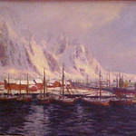 "<b>Harbor at Lofoten Islands</b><br/> Karl Ouren (1882-1943) ""Harbor at Lofoten Islands"" Oil, 1925 LFAC #974<a href=""http://farm8.static.flickr.com/7031/6852407501_551fb30e26_o.jpg"" title=""High res"">∝</a>"