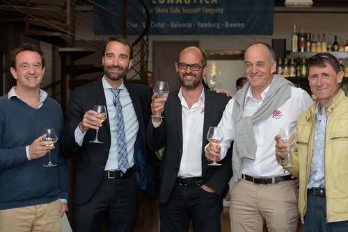 Rob PAPWORTH Compositeworkss, JY SAUSSOL La Ciotat Shipyards' CEO, Vincent LARROQUE and Eric ROBERT-PEILLARD Monaco Marine La Ciotat, Bruno CAMUSAT La Ciotat Shipyards
