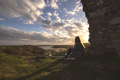 Blissful Beauty - Pennard Castle (Harriet Rose Scanlon) Tags: portrait girl field clouds self project out photography major peace finding view tranquility scene reflect harriet definition denim gower washed yourself depth scanlon usw