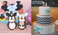 Penguins with Mickey Mouse ear hats pink (PassionArte) Tags: blue wedding light party birdcage cake mouse gold groom bride penguins veil handmade mickey figurines clay etsy modelling toppers