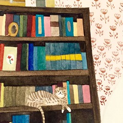 A cat on the bookshelf (mhasegawa165) Tags: illustration cat book bookshelf watercolour