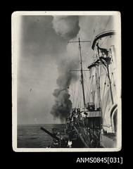 Explosion off the starboard side of HMAS SYDNEY (II) (Australian National Maritime Museum on The Commons) Tags: worldwarii wwii ww2 hmassydney hmassydneyii arthurthomaswood royalaustraliannavy ran navy navalvessel navalpersonnel ship bartolomeocolleoni hskkormoran cruiser crete singapore greece australia westernaustralia 1930s 1940s 1941