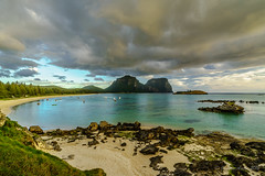 Sunset over Mt Lidgbird & Mt Gower (NettyA) Tags: sunset beach water clouds boats sand rocks australia nsw day7 unescoworldheritage lordhoweisland thelagoon 2016 lhi mtgower mtlidgbird janetteasche lordhoweforclimate